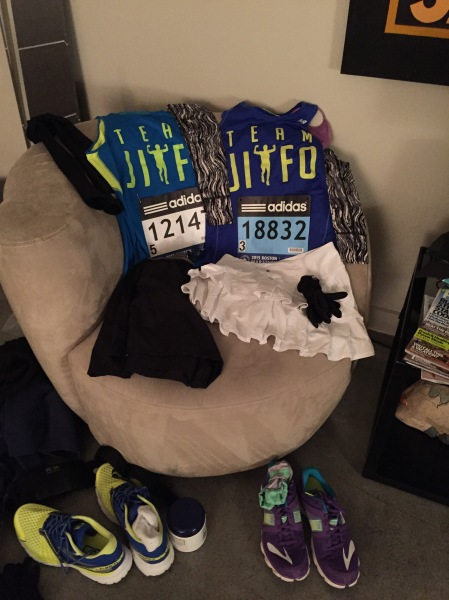 Obligatory social media pre-race attire layout photo.